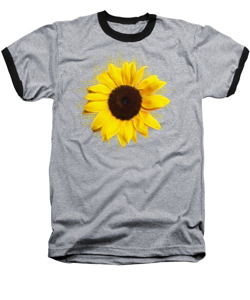 Sunflower Sunburst Baseball T-Shirt by Gill Billington