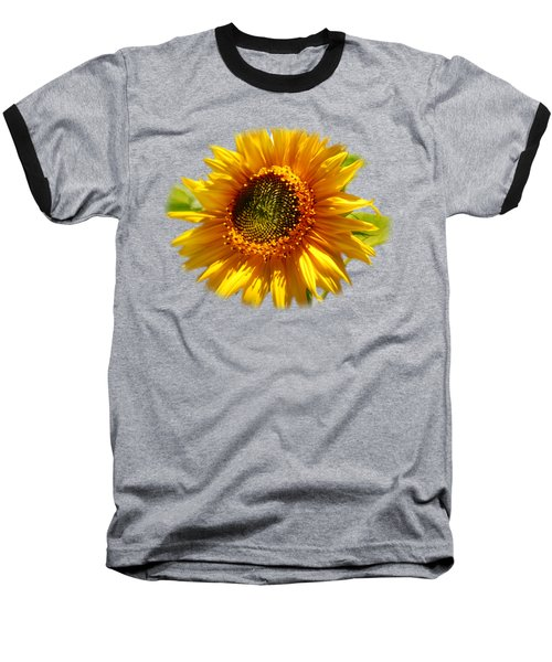 Sunny Sunflower Square Baseball T-Shirt by Christina Rollo
