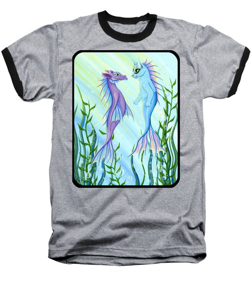 Sunrise Swim - Sea Dragon Mermaid Cat Baseball T-Shirt by Carrie Hawks