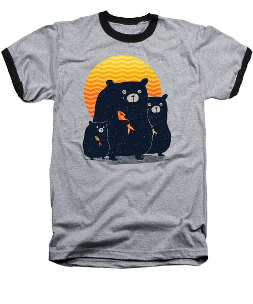 Sunset Bear Family Baseball T-Shirt by Illustratorial Pulse