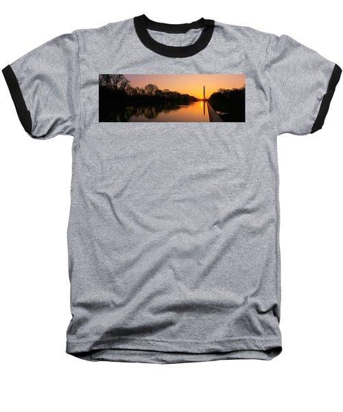 Sunset On The Washington Monument & Baseball T-Shirt by Panoramic Images