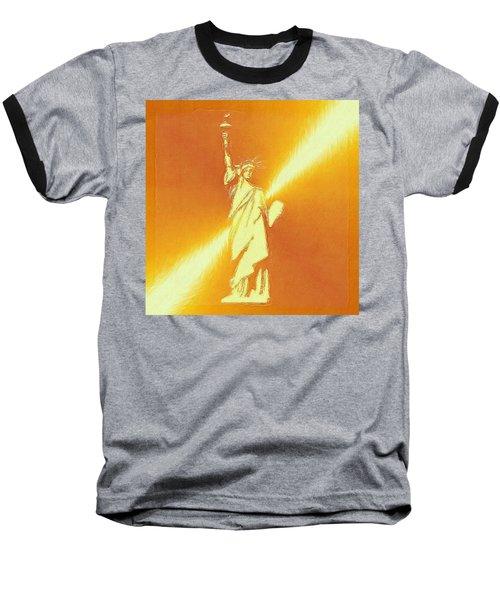 Sunstrike On Statue Of Liberty Baseball T-Shirt by Clive Littin