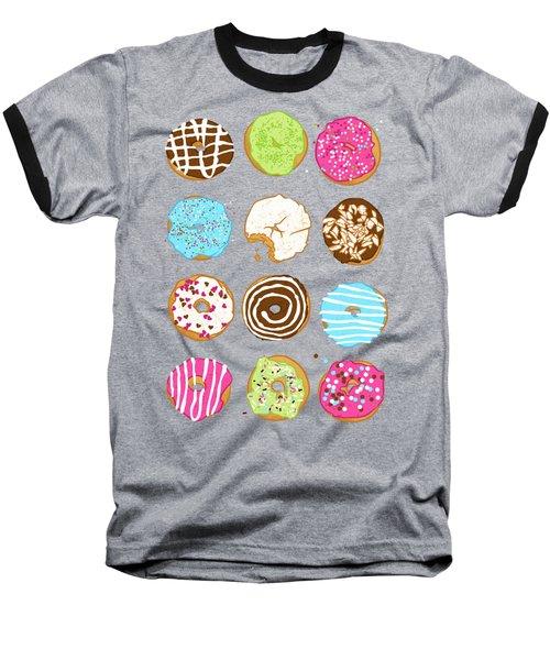 Sweet Donuts Baseball T-Shirt by Evgenia Chuvardina
