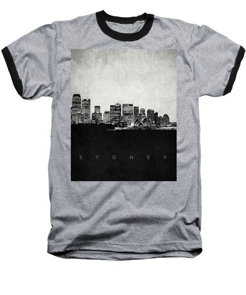 Sydney City Skyline With Opera House Baseball T-Shirt by World Art Prints And Designs