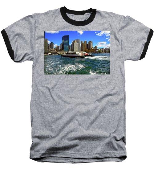 Sydney Skyline From Harbor By Kaye Menner Baseball T-Shirt by Kaye Menner