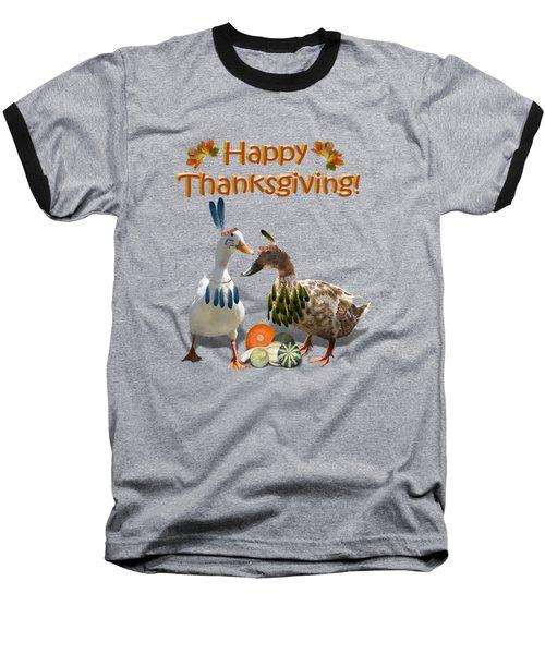 Thanksgiving Indian Ducks Baseball T-Shirt by Gravityx9  Designs