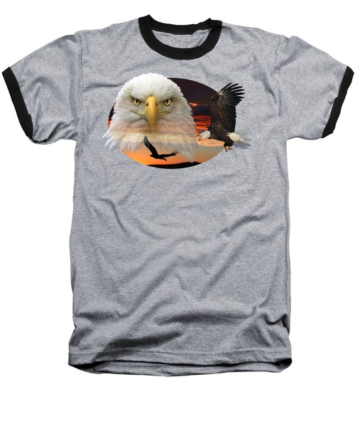 The Bald Eagle 2 Baseball T-Shirt by Shane Bechler