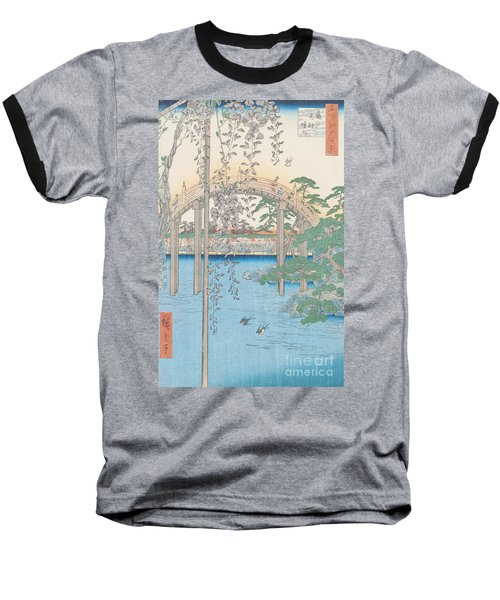 The Bridge With Wisteria Baseball T-Shirt by Hiroshige