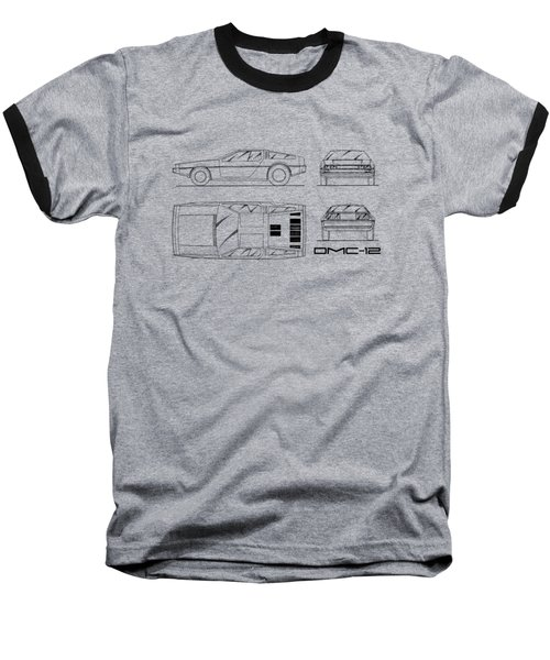 The Delorean Dmc-12 Blueprint - White Baseball T-Shirt by Mark Rogan