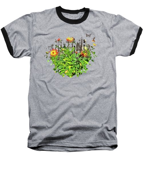 The Flowers Along The Fence  Baseball T-Shirt by Thom Zehrfeld
