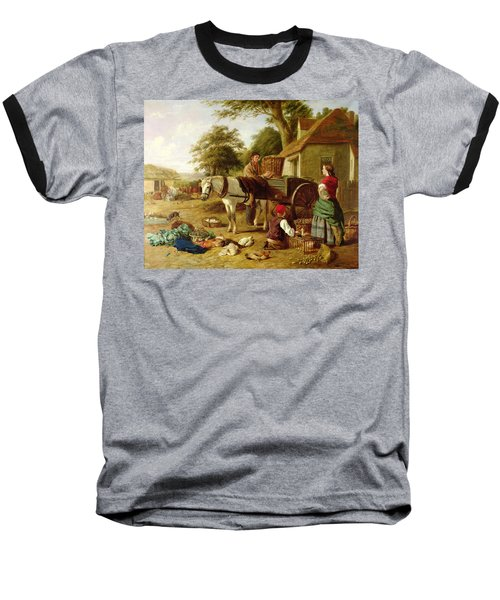 The Market Cart Baseball T-Shirt by Henry Charles Bryant