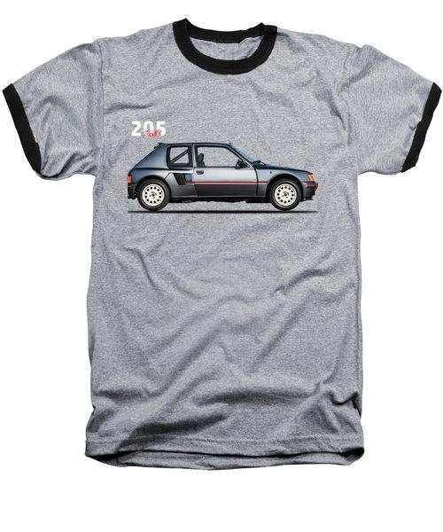 The Peugeot 205 Turbo Baseball T-Shirt by Mark Rogan