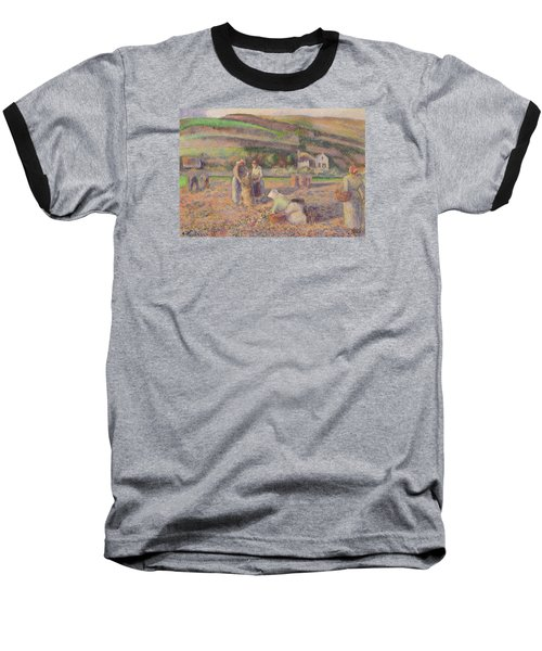 The Potato Harvest Baseball T-Shirt by Camille Pissarro