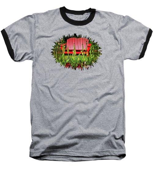 The Red Garden Bench Baseball T-Shirt by Thom Zehrfeld