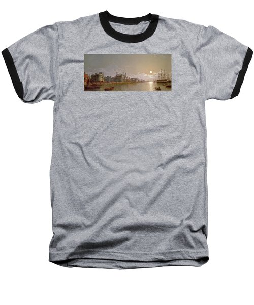 The Thames By Moonlight With Traitors' Gate And The Tower Of London Baseball T-Shirt by Henry Pether