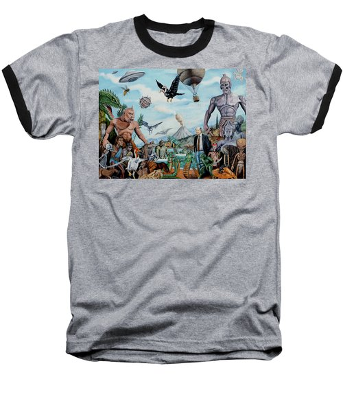 The World Of Ray Harryhausen Baseball T-Shirt by Tony Banos