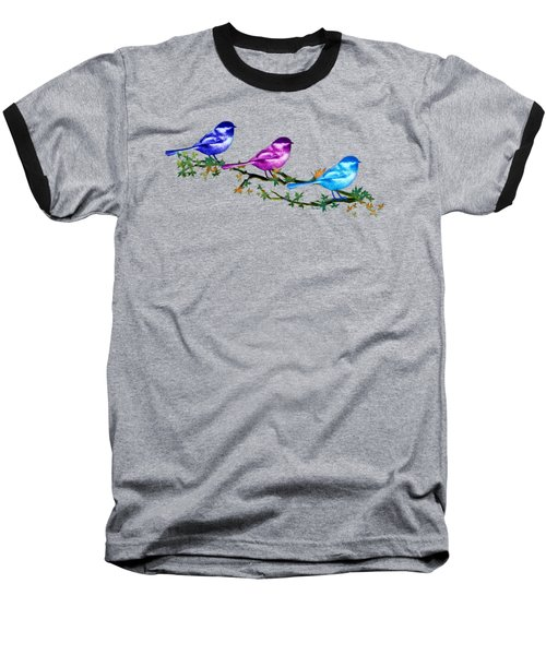Three Chickadees Baseball T-Shirt by Teresa Ascone