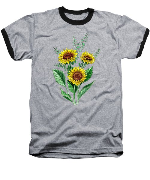 Three Playful Sunflowers Baseball T-Shirt by Irina Sztukowski