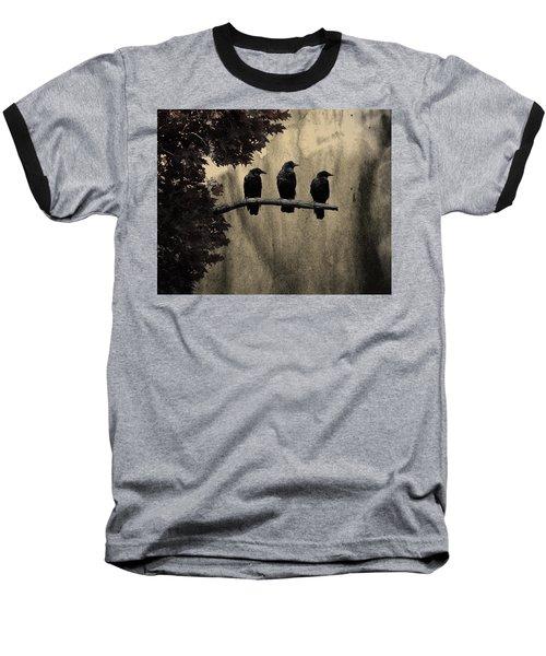 Three Ravens Baseball T-Shirt by Gothicolors Donna