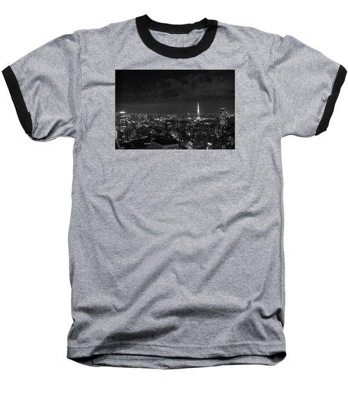 Tokyo Skyline Baseball T-Shirt by Liz Grandstaff