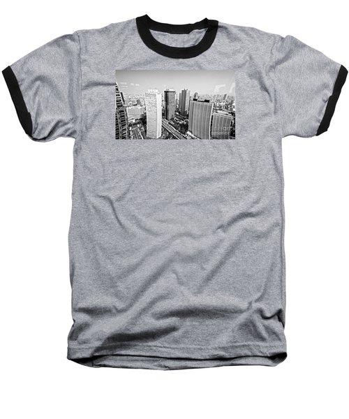 Tokyo Skyline Baseball T-Shirt by Pravine Chester