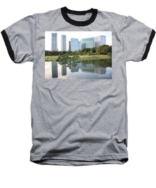 Tokyo Skyline Reflection Baseball T-Shirt by Carol Groenen