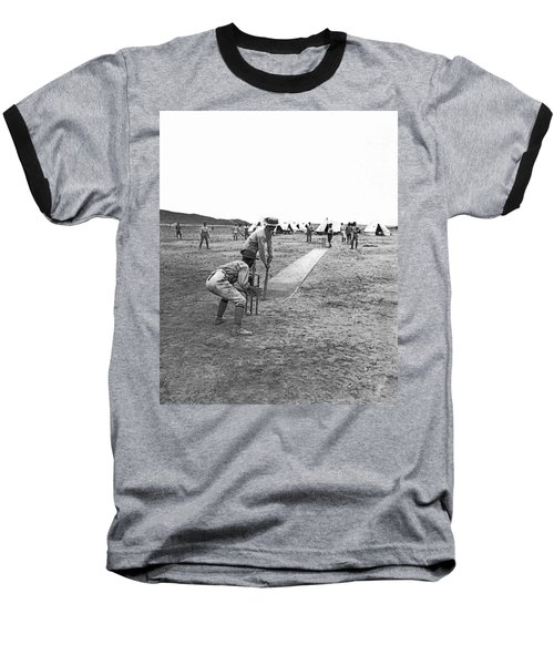 Troops Playing Cricket Baseball T-Shirt by Underwood Archives