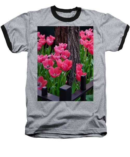 Tulips And Tree Baseball T-Shirt by Mike Nellums