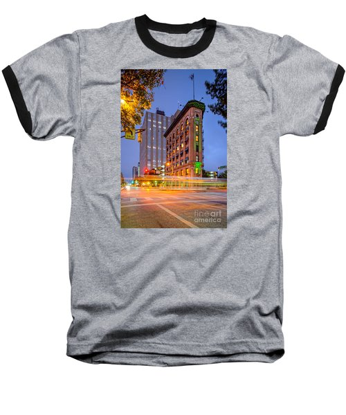 Twilight Photograph Of The Flatiron Building In Downtown Fort Worth - Texas Baseball T-Shirt by Silvio Ligutti
