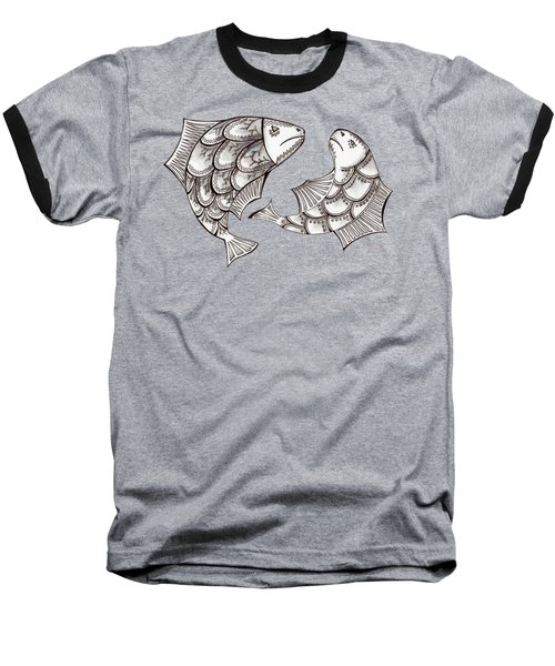 Two Ink Pen Graphic Hand Drawn Black And White Fish Baseball T-Shirt by Victoria Yurkova
