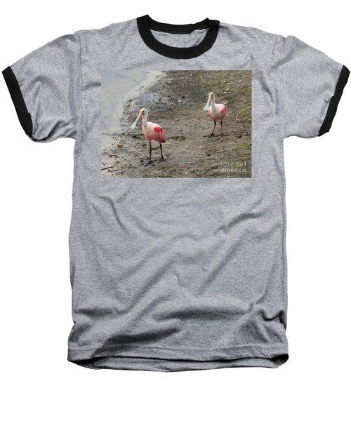 Two Roseate Spoonbills 2 Baseball T-Shirt by Carol Groenen