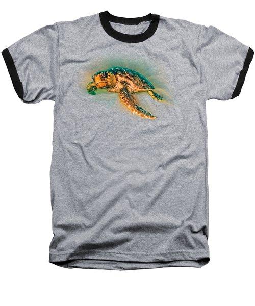 Undersea Turtle Baseball T-Shirt by Debra and Dave Vanderlaan