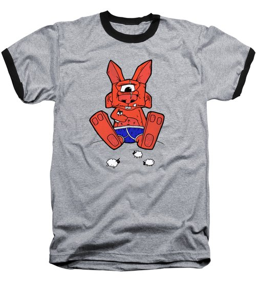Uno The Cyclops Bunny Baseball T-Shirt by Bizarre Bunny
