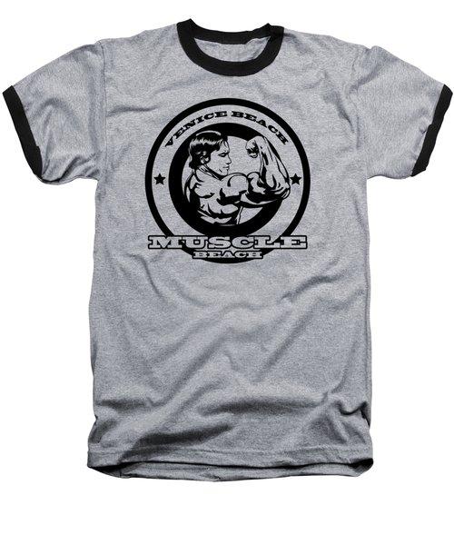 Venice Beach Arnold Muscle Baseball T-Shirt by Alex Soro