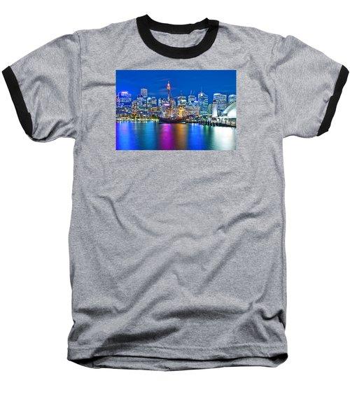 Vibrant Darling Harbour Baseball T-Shirt by Az Jackson