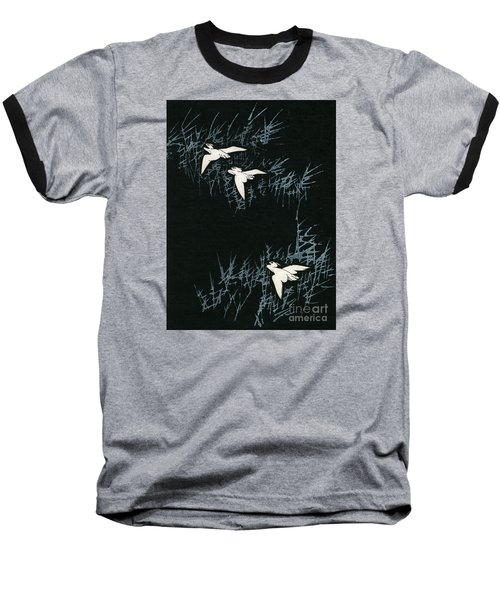 Vintage Japanese Illustration Of Three Cranes Flying In A Night Landscape Baseball T-Shirt by Japanese School