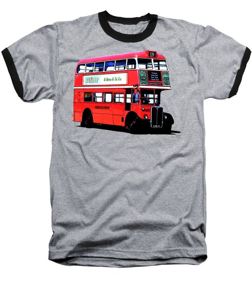 Vintage London Bus Tee Baseball T-Shirt by Edward Fielding