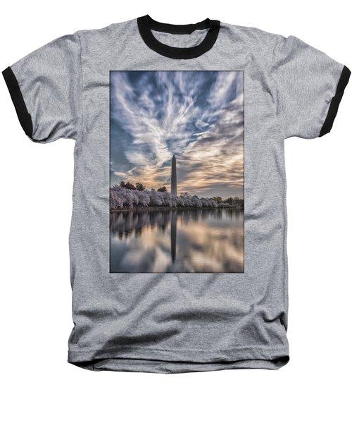 Washington Blossom Sunrise Baseball T-Shirt by Erika Fawcett