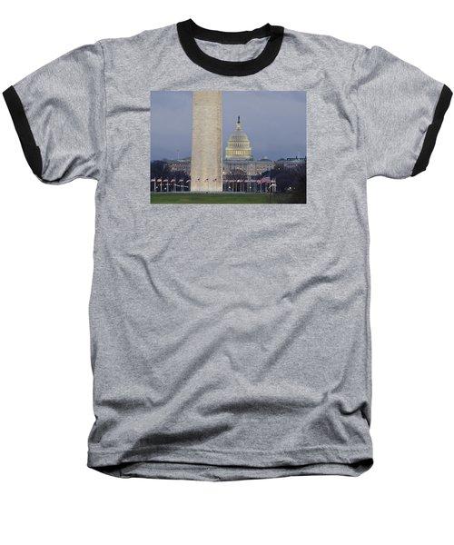 Washington Monument And United States Capitol Buildings - Washington Dc Baseball T-Shirt by Brendan Reals