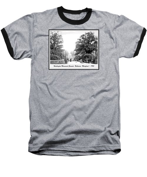 Baseball T-Shirt featuring the photograph Washington Monument Grounds Baltimore 1900 Vintage Photograph by A Gurmankin