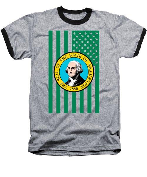 Washington State Flag Graphic Usa Styling Baseball T-Shirt by Garaga Designs