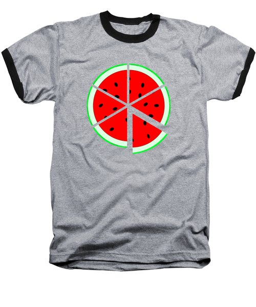 Watermelon Wedge Baseball T-Shirt by Susan Eileen Evans
