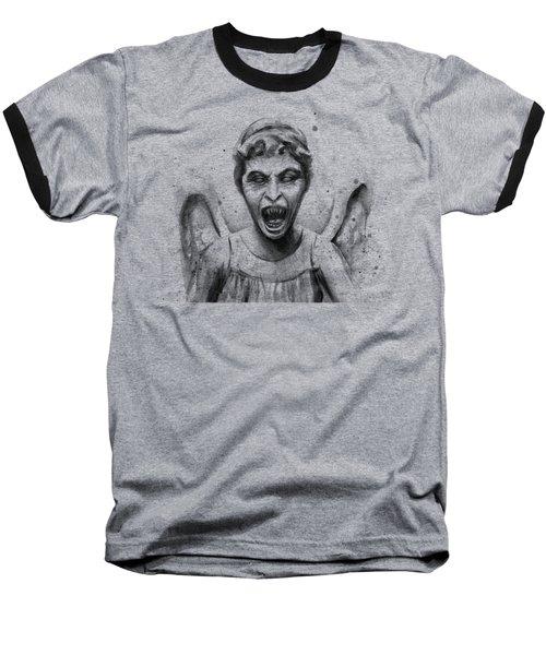 Weeping Angel Watercolor - Don't Blink Baseball T-Shirt by Olga Shvartsur