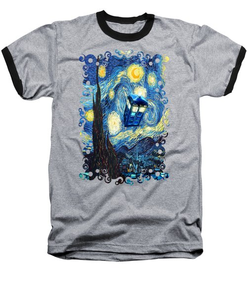 Weird Flying Phone Booth Starry The Night Baseball T-Shirt by Three Second