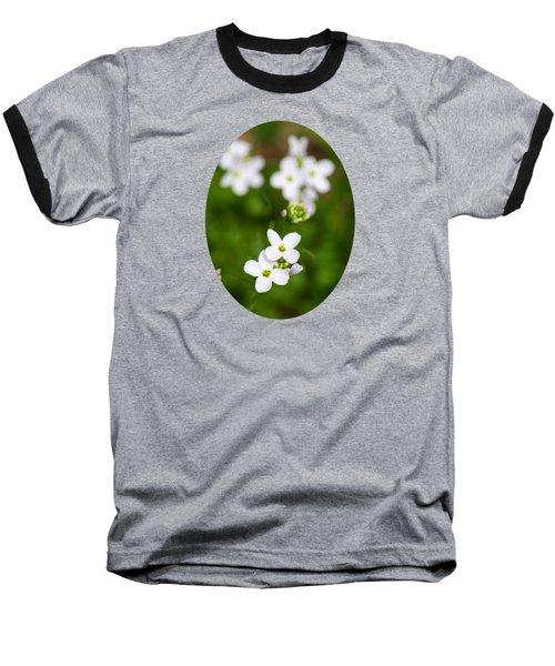 White Cuckoo Flowers Baseball T-Shirt by Christina Rollo