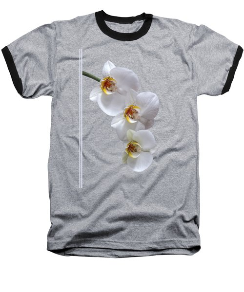 White Orchids On Terracotta Vdertical Baseball T-Shirt by Gill Billington