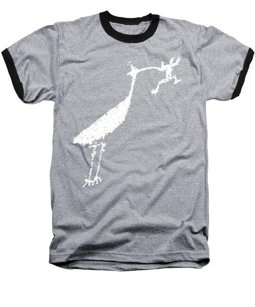 White Petroglyph Baseball T-Shirt by Melany Sarafis
