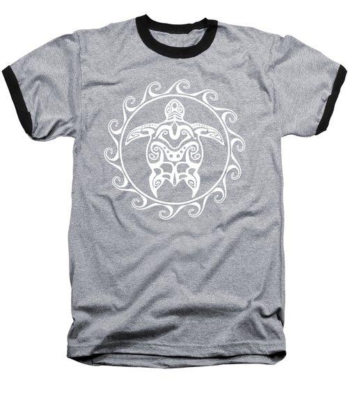White Tribal Turtle Baseball T-Shirt by Chris MacDonald