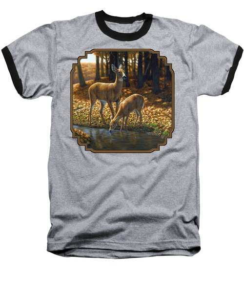 Whitetail Deer - Autumn Innocence 1 Baseball T-Shirt by Crista Forest