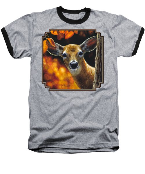 Whitetail Deer - Surprise Baseball T-Shirt by Crista Forest